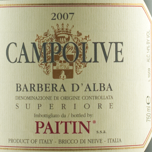 Paitin Barbera d'Alba Campolive 2007 Magnum-0
